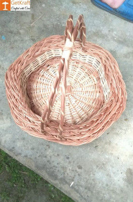 Wicker Willow Gift Basket (with) Double Handle Set Of 3(#1186)-gallery-0