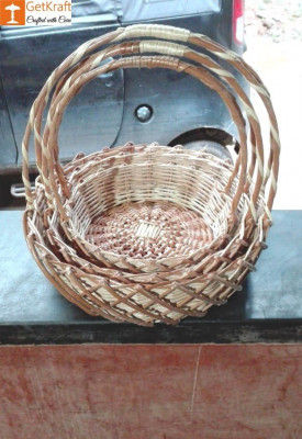 Wicker Willow Gift Basket (with) Double Handle Set Of 3(#1191)-gallery-0