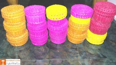 Palm Leaves Container with Lid(#1203)-gallery-0