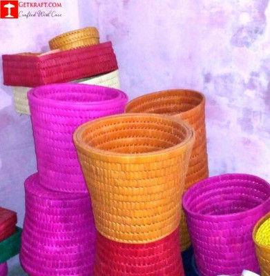 Palm Leaves Waste Paper Basket Set of (3)(#1219)-gallery-0