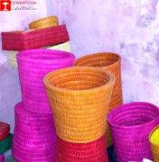 Palm Leaves Waste Paper Basket Set of (3)(#1219) - Getkraft.com