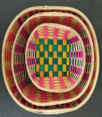 Color Bamboo Oval Tray(#1271)-gallery-0