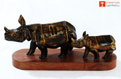 Wooden Rhino with Baby(#1290)-gallery-0