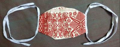 Handmade Assamese Gamosa Print Face Mask (Pack of 5)(#1339)-gallery-0