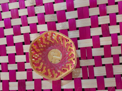 4 inch bamboo basket hexagonal(#1362)-gallery-0