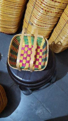 8 inch square handle bamboo basket(#1371)-gallery-0