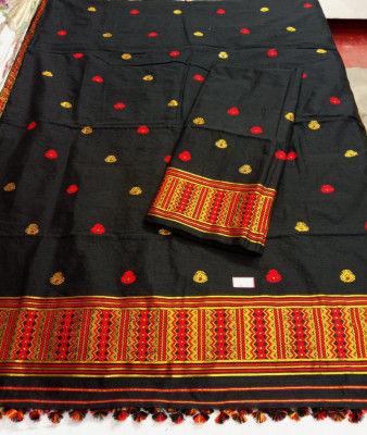 Assamese Staple Cotton Black Mekhela Chador P1(#1402)-gallery-0