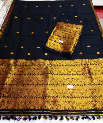 Assamese Staple Cotton Black Mekhela Chador P3(#1404)-gallery-0