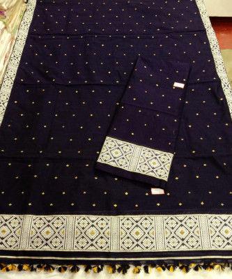 Assamese Staple Cotton Black Mekhela Chador P6(#1406)-gallery-0