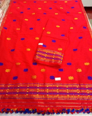 Assamese Staple Cotton Red Mekhela Chador P7(#1408)-gallery-0