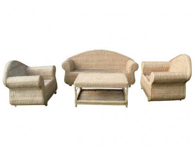 3-Seater Cane Sofa Set with Table(#141)-gallery-0