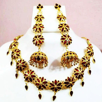 Assamese Traditional Golpata Necklace set For Women(#1530)-gallery-0
