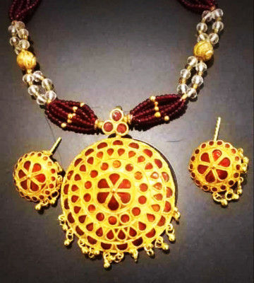 Red Traditional Japi Jewelry for Women(#1547)-gallery-0