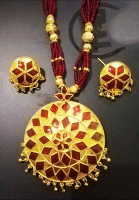 Designer Red Japi Jewellery Set for Women(#1552)-gallery-0