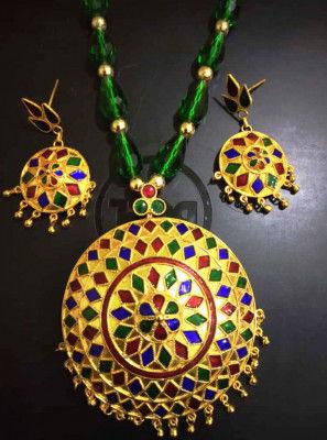 Designer Large sized Japi Pendant and Earrings for Women(#1554)-gallery-0