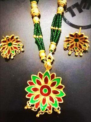 Assamese Thuka Phool studded stone Golden Jewelry for Women(#1561)-gallery-0