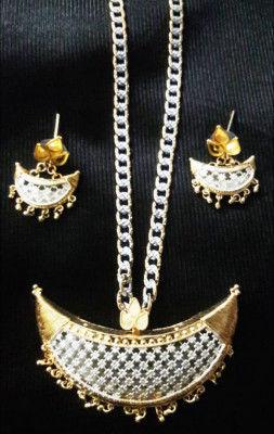 Silver frame Golden Jonbiri Jewellery for Women(#1571)-gallery-0