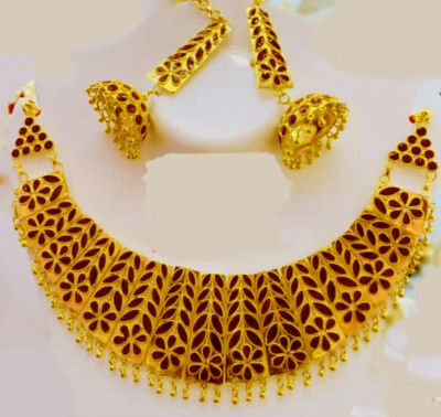 Axomia Large sized Golden Jonbiri Necklace set for Women(#1580)-gallery-0