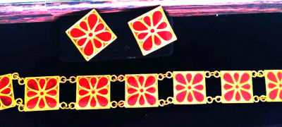 Beautiful Golpata Jewellery with red enamelled stones for Women(#1603)-gallery-0