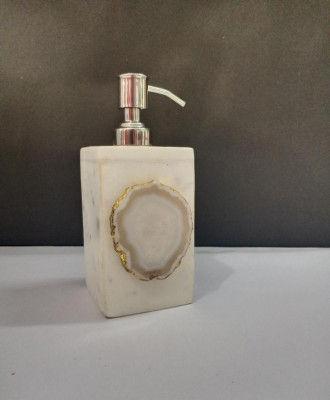 Unique Handicrafts Agate Stone Liquid Dispenser Hand wash soapShampooLotion Dispenser for Designer Bathroom Home Decor 3x3x5 inch (White with White Agate Stone)(#1618)-gallery-0