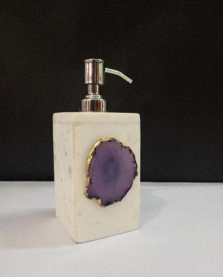 Unique Handicrafts Agate Stone Liquid Dispenser Hand wash soapShampooLotion Dispenser for Designer Bathroom Home Decor 3x3x5 inch (White with purple Agate Stone)(#1621)-gallery-0