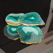Arts Blue Agate Tea Coaster Set of 4 pcs with Gold Electroplating (Pack-1 Green Agate)(#1626) - Getkraft.com