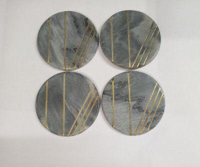 Unique Handicrafts Grey Marble Mix Brass Inlay Coaster Set of 4 pcs Round Shape Customize Marble Work by Vidhi Enterprisesl (Grey)(#1627)-gallery-0