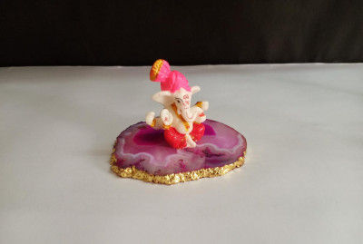 Unique Handicrafts Exclusive Blessing Lord Ganesha Ji On Agate Coaster with Gold foil Edges Show Unique Handicrafts Piece Figurine 3-4 x h-275 l Home Decor I Ganesha on Agate Plate showpiece(#1630)-gallery-0