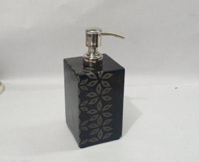 Unique Handicrafts Black Marble Hand Carved Name Liquid Dispenser Hand wash soapShampooLotion Dispenser for Bathroom Home Decor 3x3x5 (Floral Patter Hand Carved Black)(#1631)-gallery-0