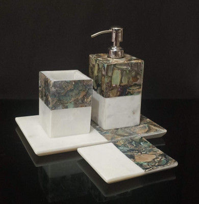 Unique Handicrafts Marble Mother of Pearl Bathroom Set of 4 PC - Liquid Soap Dispenser Brush Holder Tray soap Dish Best for Gifting (Design-3)(#1634)-gallery-0
