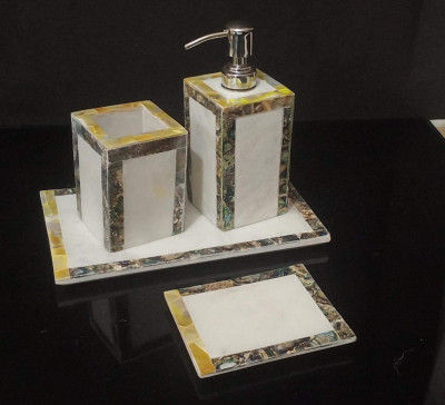 Unique Handicrafts Mother of Pearl Bathroom Set of 4 PCs - Liquid Soap Dispenser Brush Holder Tray soap Dish Best for Gifting(#1635)-gallery-0