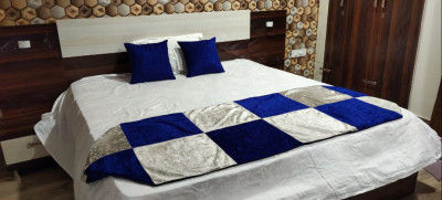 Unique Handicraft Fine Velvet (Suede) Bed Runner 92x30 inch for Bedroom with 2 pcs Cushion Cover (16x16 Inches) (White Blue Combination)(#1638)-gallery-0