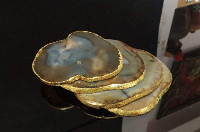 Unique Handicrafts Brown Agate Tea Coaster Set of 4 pcs with Gold Electroplating (Pack-1 Brown Agate)(#1639)-gallery-0