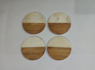 Unique Handicrafts Half Marble Wooden Mix Coasters for Home Kitchen Office Desk Table Decor Set of 4 pcs (WhiteWood Round Shape) Brand Generic(#1647)-gallery-0