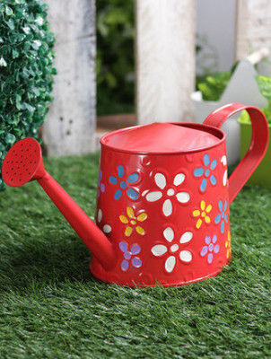 Hand Colored Round Metal Watering Can- Gardening Tool(#1659)-gallery-0