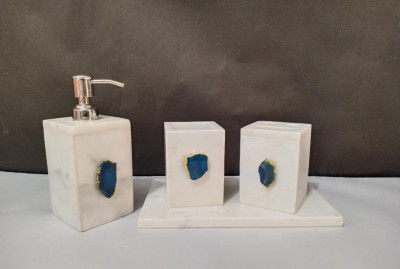 Unique Handicrafts Bathroom Accessory Set Natural Marble Agate Stone 1-2 inch Bath Accessories Set of 4 Includes Soap Dispenser Toothbrush Holder Tray Tumbler Bathroom Set (White)(#1664)-gallery-0