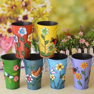 Multi colour Beautiful Embossed Designed Small Glass shaped Planters(#1675)-gallery-0