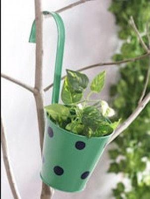 5 inch (13 cm) Polka Railing Round Metal Planter (Green)(#1677)-gallery-0