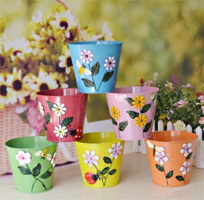 Multi colour Beautiful Embossed Designed Small Glass shaped Planters(#1680)-gallery-0