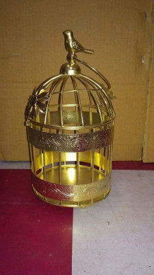 Artistic Copper Bird Cage Candle Holder with Hanging Chain(#1689)-gallery-0