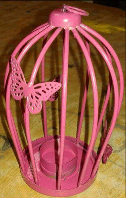 Pink Butterfly Bird cage Candle Holder- Home Decor(#1693)-gallery-0