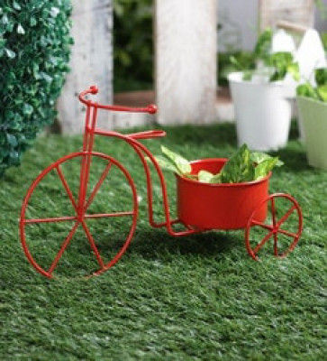 Red Black Blue Metal Cycle Plant Pot- Plant Container- Flower Pot(#1735)-gallery-0