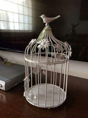 Vintage White Bird cage Candle Holder(#1738)-gallery-0