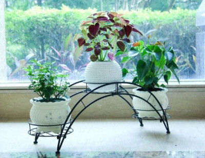 Metal Arch Plant Pot Rack Organizer Flower Pot Stand with Holder(#1740)-gallery-0