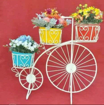 Simple White Cycle Style Planter Stand(#1743)-gallery-0