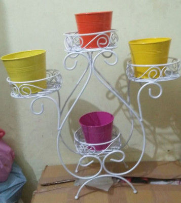 Floral Metal Planter Stand 4 Shelves Plant Stand Pot Stand(#1753)-gallery-0