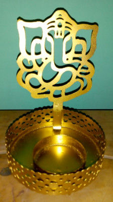 Ganesha Shadow Tealight Candle Holder(#1766)-gallery-0
