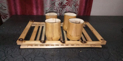 HAND MADE ECO FRIENDLY SERVING TRAY AND CUP SET(#1771)-gallery-0