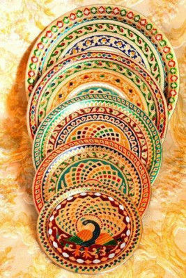 Stainless Steel Multicolor Designer Multipurpose Meenakari Pooja Thali Wholesale(#1873)-gallery-0