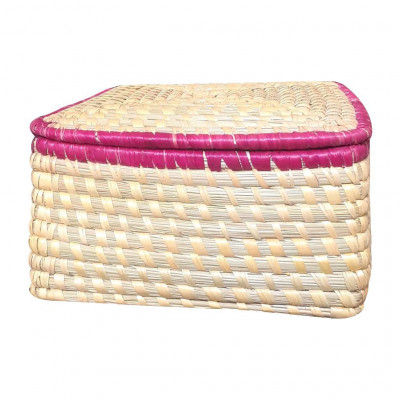 Avnii Organics Eco Friendly Beautiful Hand Woven Square Shaped MoonjSea Grass Basket With Lid Eco-Friendly Can Be Used Multipurpose Storage(#1898)-gallery-0